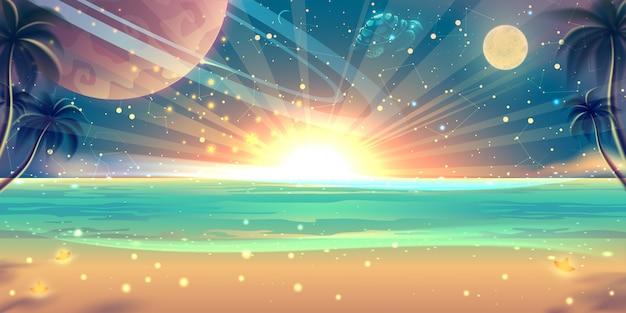 Paisagem do mar do pôr do sol de verão com praia, areia dourada, palmeiras e céu fantástico