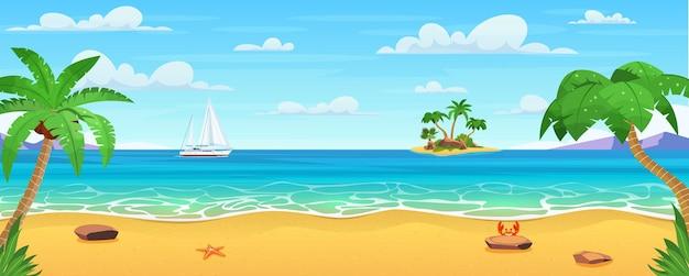 Paisagem do mar. praia tropical, litoral do oceano.