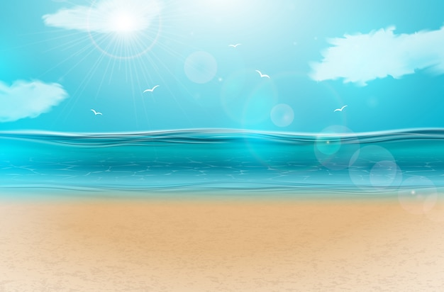 Paisagem do oceano azul com céu nublado