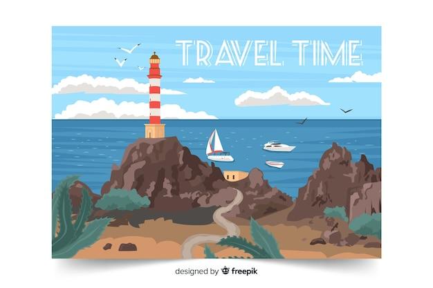 Paisagem do oceano de tempo de viagem