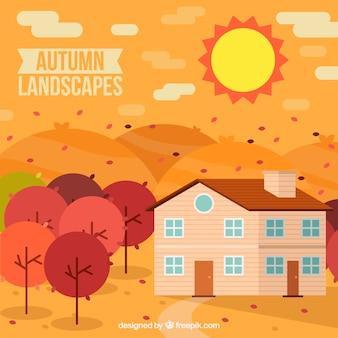 Paisagem do outono com casa e árvores