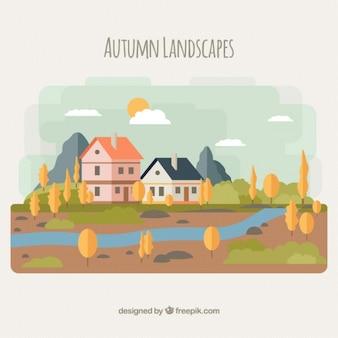 Paisagem do outono com um rio e as casas