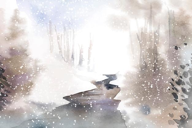 Paisagem do país das maravilhas de inverno pintada por aquarela vector