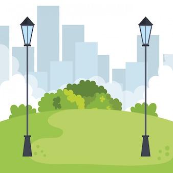 Paisagem do parque com cena de lâmpadas
