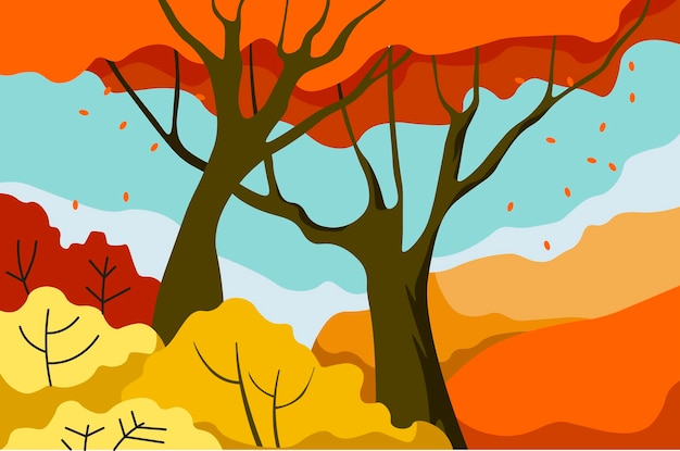 Paisagem do parque de outono caindo das folhas da árvore