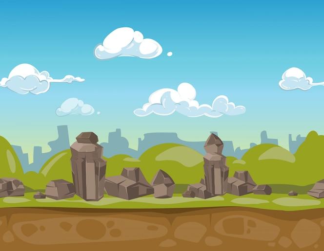 Paisagem do parque sem costura dos desenhos animados para o jogo de interface do usuário