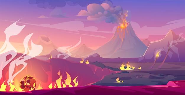 Paisagem do período jurássico com vulcão e meteoro