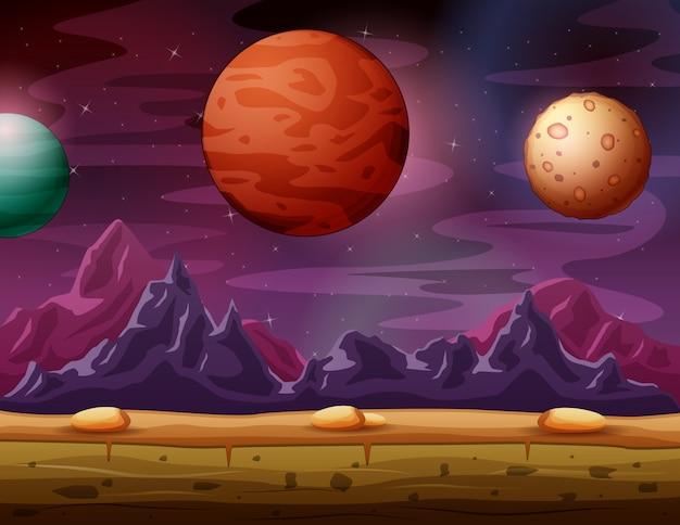 Paisagem do planeta vermelho com vista a outros planetas bonitos