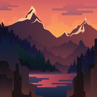 Paisagem do pôr do sol com enormes montanhas vermelhas e lago