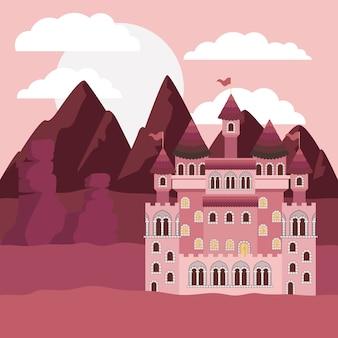 Paisagem do por do sol com montanhas e castelo de contos de fadas i