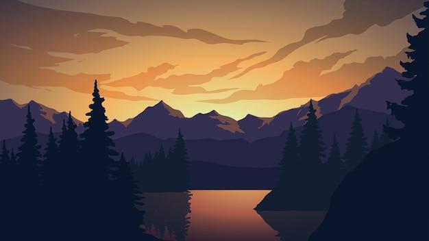 Paisagem do pôr do sol com pinheiros, lago e montanha