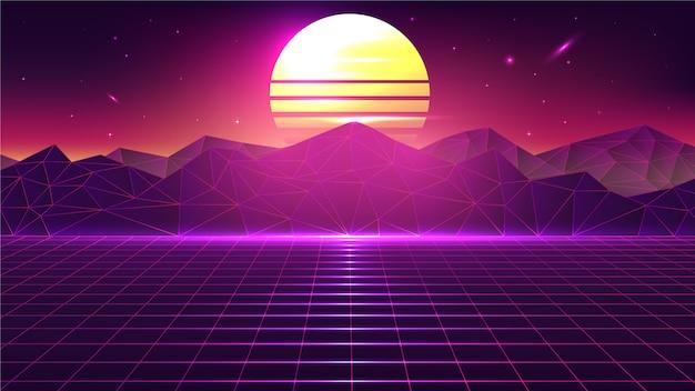 Paisagem do por do sol retro vintage dos anos 80