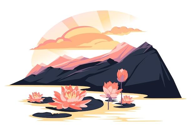 Paisagem do pôr do sol sobre um lago de montanha com flores de lótus. ilustração plana colorida rosa e roxa