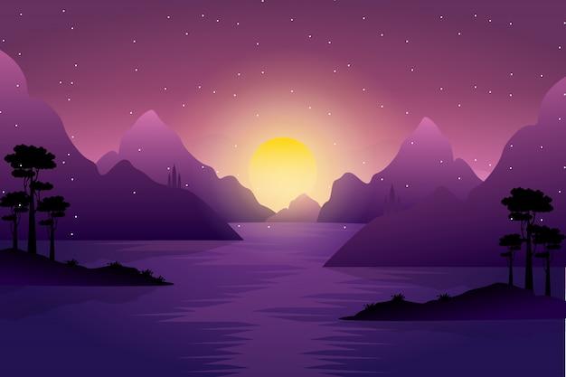 Paisagem do sol do amanhecer sobre as montanhas