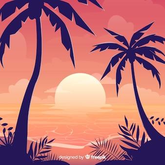 Paisagem do sol praia gradiente