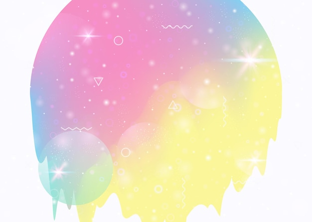 Paisagem do universo com cosmos holográfico e futuro abstrato. fluido 3d. gradiente e forma futuristas. silhueta de montanha de néon com falha ondulada. paisagem do universo de memphis.