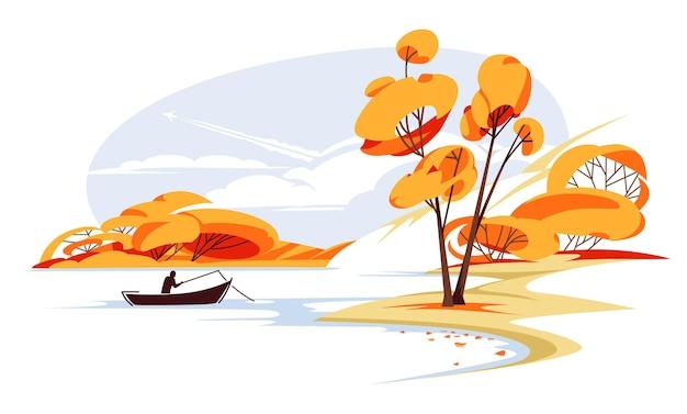 Paisagem do vale verde da montanha temporada de outono cartaz com vista panorâmica do lago lazer de pesca no rio calmo