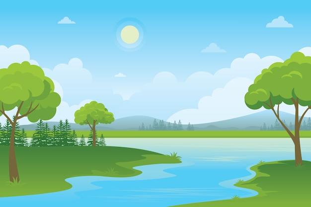 Paisagem dos desenhos animados com lago. natureza paisagem rural