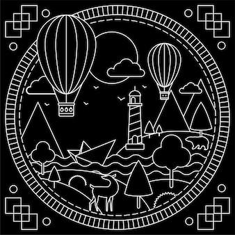 Paisagem e balões, preto e branco