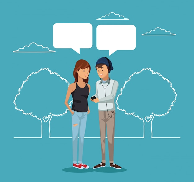 Paisagem e par estudante de pé com caixas de diálogo