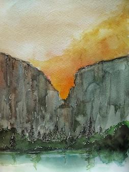 Paisagem em aquarela com fundo desenhado à mão da natureza abstrata das árvores
