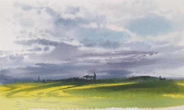 Paisagem em aquarela com grama e céu azul desenho à mão