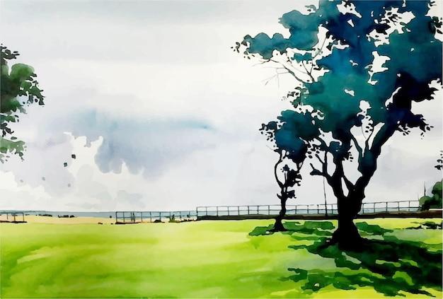Paisagem em aquarela com ilustração desenhada à mão de árvore