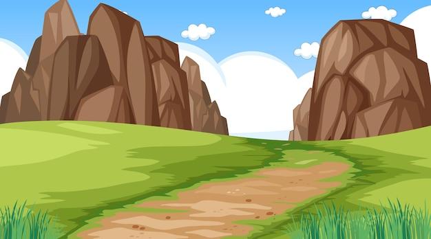 Paisagem em branco do parque natural em cena diurna com caminho através do prado