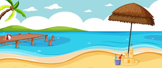 Paisagem em branco em cena de praia natural com alguns ícones de praia e céu vazio