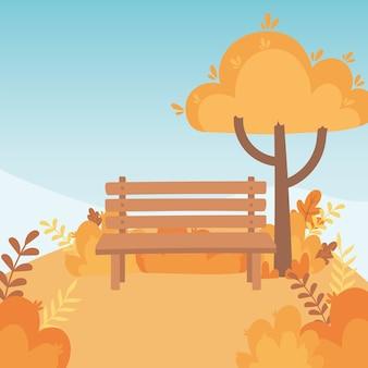 Paisagem em cena natural de outono, árvore do banco do parque deixa a montanha