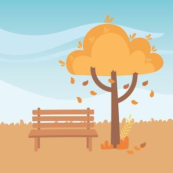Paisagem em cena natural de outono, banco de parque caindo folhas árvore
