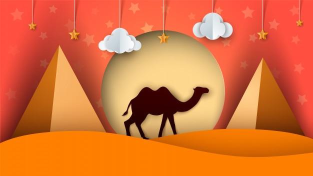 Paisagem em papel de desenho animado. ilustração do camelo