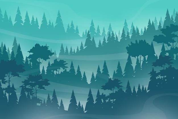 Paisagem enevoada com nevoeiro em pinheiros e floresta em encostas de montanha, cena da natureza de ilustração