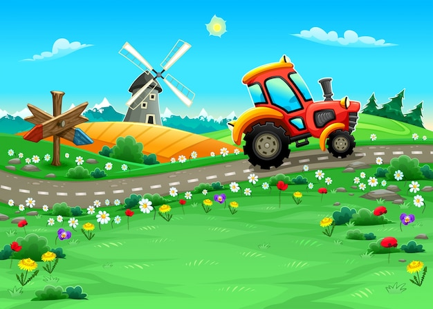 Paisagem engraçada com trator na ilustração do vetor dos desenhos animados estrada