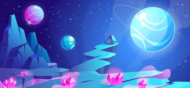 Paisagem espacial à noite