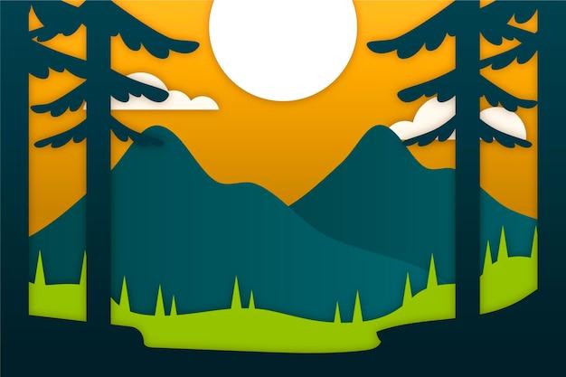 Paisagem estilo papel com montanhas