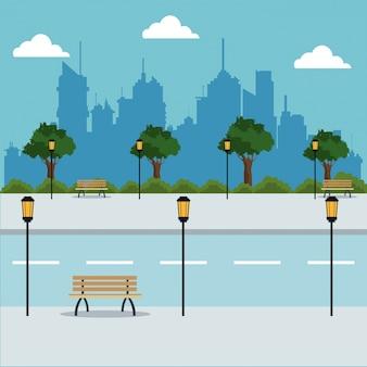 Paisagem, estrada, árvores, lanternas, cidade, fundo