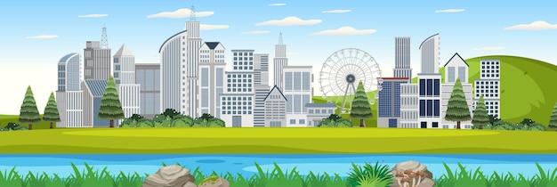 Paisagem externa com vista urbana do parque