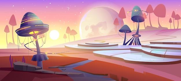Paisagem fantástica com cogumelos e plantas brilhantes mágicas ao pôr do sol