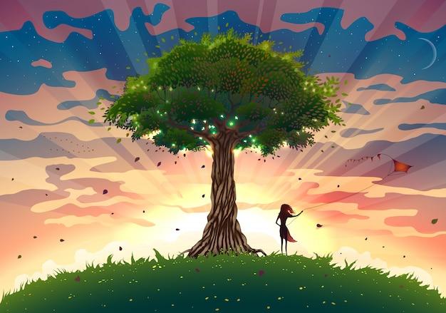 Paisagem fantástica do pôr do sol com árvore e garota empinando pipa