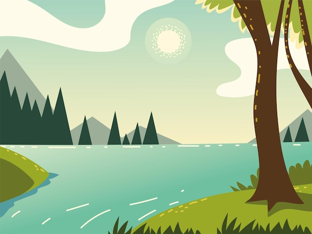 Paisagem, floresta, árvores, rio, natureza