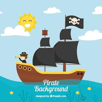 Paisagem fundo com navio pirata