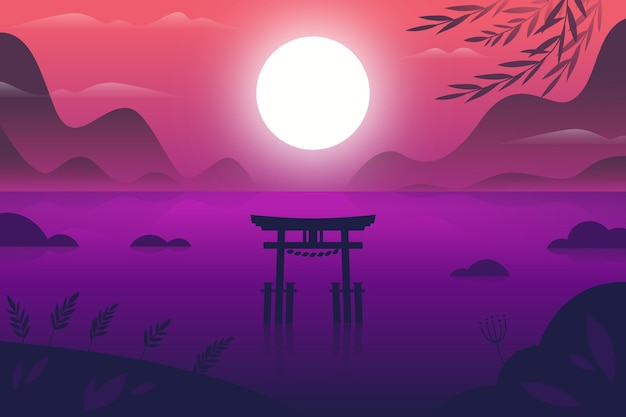 Paisagem gradiente com portão torii na água
