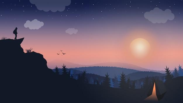Paisagem, homem na montanha, amanhecer