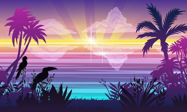 Paisagem horizontal do oceano verão plantas tropicais árvores tucano papagaio