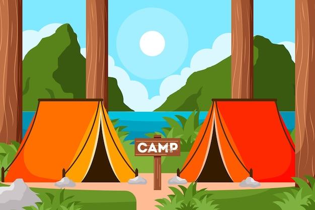 Paisagem ilustrada de área de acampamento