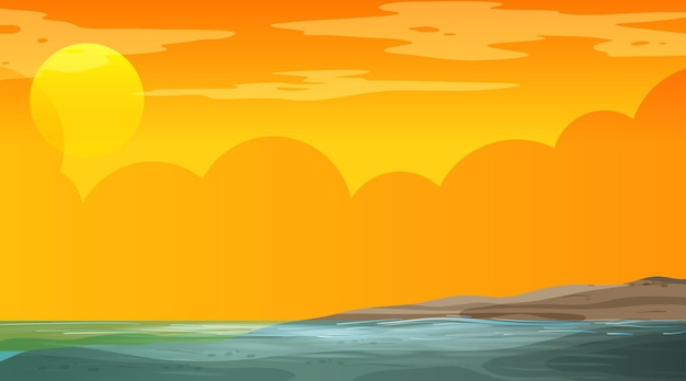 Paisagem inundada em branco na cena do pôr do sol
