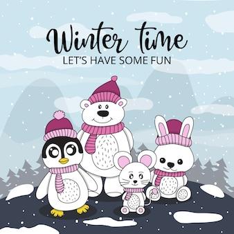 Paisagem inverno, com, animais