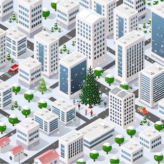 Paisagem isométrica da cidade