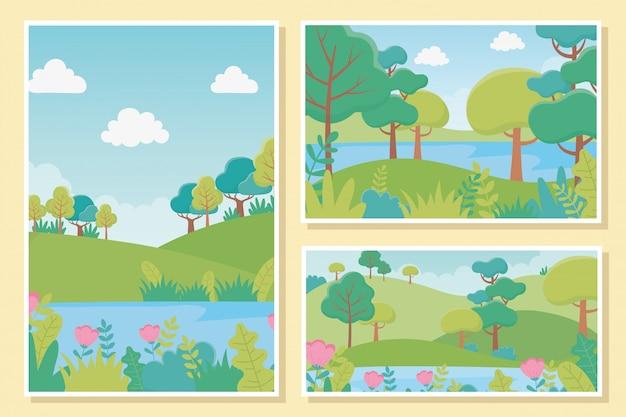 Paisagem lago flores árvores folhagem natureza vegetação